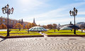 Panorama of manege square in moscow in autumn russia october manezhnaya on october large pedestrian area center Royalty Free Stock Image