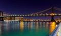 Panorama of Manhattan Bridge in New York City at night Royalty Free Stock Photo