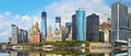 Panorama of Manhattan financial buildings Royalty Free Stock Photo