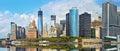 Panorama of Manhattan financial buildings Royalty Free Stock Photo