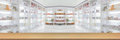 panorama on medicine cabinet and store medicine and pharmacy drugstore for Blurry background with Perspective wood Royalty Free Stock Photo