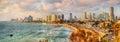 Panorama of the Mediterranean waterfront in Tel Aviv Royalty Free Stock Photo