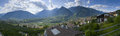 Panorama merano valley view on the village south tyrol with behind the mountain of the location of tyrol and foresight on the Stock Photography