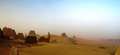 Panorama of Meroe pyramids in the desert at sunset, Sudan, Royalty Free Stock Photo