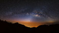 Panorama Milky Way Galaxy at Doi Luang Chiang Dao.Long exposure Royalty Free Stock Photo