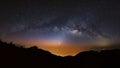 Panorama Milky Way Galaxy at Doi Luang Chiang Dao.Long exposure