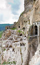 Panorama of monastery Vardzia,Georgia,Transcaucasu Royalty Free Stock Photography