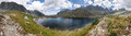 Panorama of mountain lake high tatras slovakia europe Stock Images