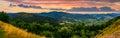Panorama of mountain ridge with peak at sunset Royalty Free Stock Photo