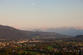 Panorama of mountains in the alps at sunset salzburg austria Stock Photo