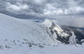 Panorama of the mountains before the snowstorm Royalty Free Stock Photography