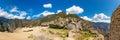 Panorama of Mysterious city - Machu Picchu, Peru,South America. The Incan ruins. Royalty Free Stock Photo