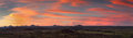 Panorama of the namibian savannah at sunset near windhoek Stock Photo