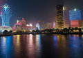 Panorama with night casino in macau macao china april Stock Images