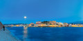 Panorama of night Venetian quay, Chania, Crete Royalty Free Stock Photo