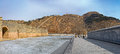 Panorama of nine arch bridge on great china wall in winter and at water gates section the known as the over Stock Photo
