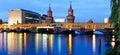 Panorama oberbaum bridge, berlin, germany Royalty Free Stock Photo