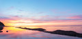 Panorama of  ocean beach at the crack of dawn Royalty Free Stock Photo