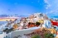 Panorama of Oia or Ia at sunset, Santorini, Greece Royalty Free Stock Photo
