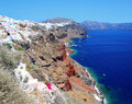 Panorama of oia at the island of santorini greek Stock Photos