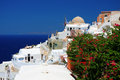 Panorama of oia santorini at the greek island Stock Image