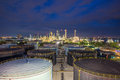 Panorama of Oil refinery and storage tanks at twilight Royalty Free Stock Photo