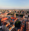 Panorama of the old city and town hall in Gdansk Royalty Free Stock Photo