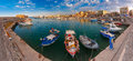 Panorama of Old harbour, Heraklion, Crete, Greece Royalty Free Stock Photo