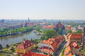 Panorama of old town cityscape wroclaw poland Stock Image
