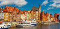 Panorama of Old Town and Motlawa in Gdansk, Poland Royalty Free Stock Photo