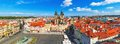 Panorama of the old town square in prague czech republic scenic summer aerial and church our lady before tyn Royalty Free Stock Photos
