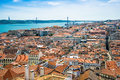 Panorama of old traditional city of Lisbon with red roofs. Royalty Free Stock Photo