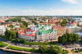 Panorama of old vyborg town with port Stock Images