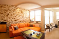 Panorama orange theme living room sandstone tiled wall Stock Photo
