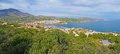 Panorama over banyuls sur mer mediterranean town of vermilion coast pyrenees orientales roussillon france Stock Images