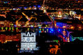 Panorama over lyon at night Royalty Free Stock Photo