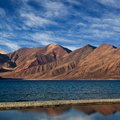 Panorama of Pangong Tso Lake, India Stock Image
