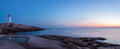 Panorama of Peggys Cove's Lighthouse after Sunset (Nova Scotia, Royalty Free Stock Photo