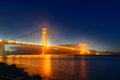 Panorama photo of Golden Gate Bridge at night time, San Francisco Royalty Free Stock Photo