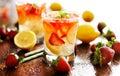 Panorama photo of strawberry lemonade Royalty Free Stock Photo