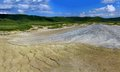 Panorama picture of a muddy vulcano errupting in buzau county paclele mari romania Stock Photos