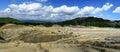 Panorama picture of muddy vulcanos a vulcano similar to selenar landscape in buzau county paclele mari romania Royalty Free Stock Image