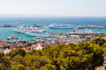 Panorama of the port with cruise liners in palma de mallorca view from highest point summer sunny day Stock Images
