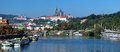 Panorama of Prague Castle from Vltava river Royalty Free Stock Image