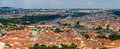 Panorama of prague from petrin lookout tower Royalty Free Stock Photos