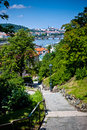 Panorama of Prague`s bridges from Visegrad Royalty Free Stock Image
