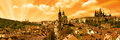 Panorama prague s lesser town abstract orange color Stock Photo