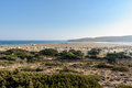 Panorama of Prasonisi bay at south of Rhodes town, Greece Royalty Free Stock Photo
