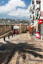 Panorama of a quiet street in the old part of Peniscola. Royalty Free Stock Photo