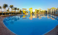 Panorama resort hotel with pool and aqua sliders Stock Image